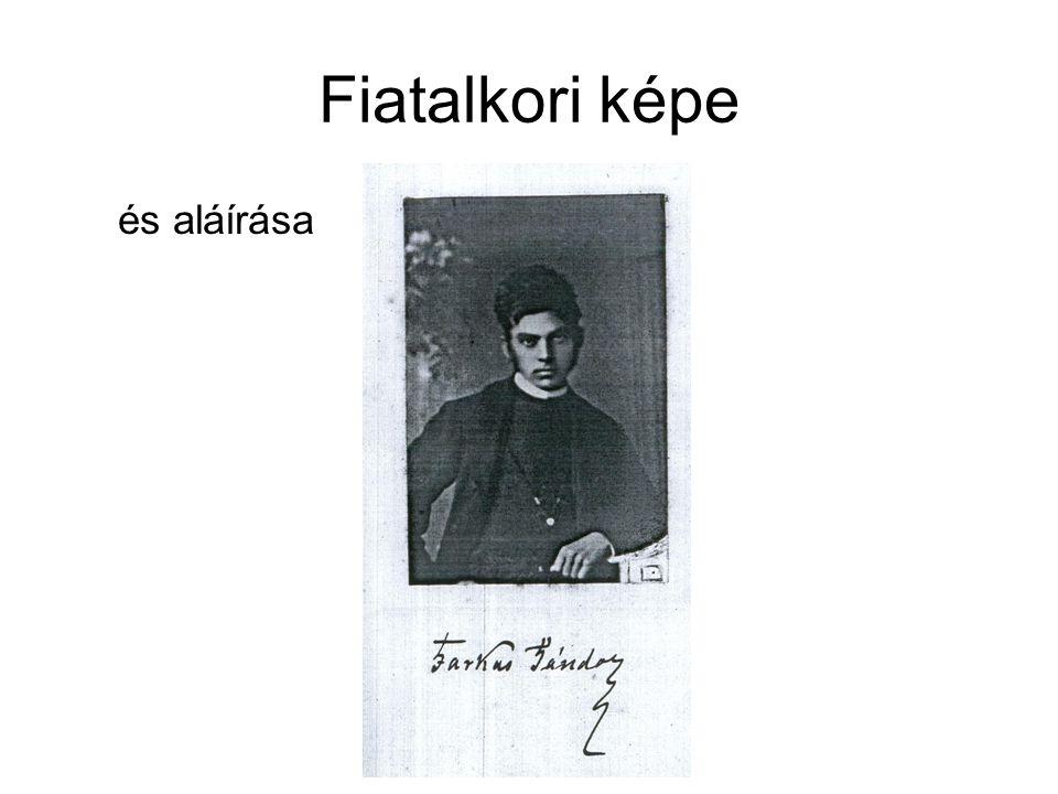 Fiatalkori képe és aláírása