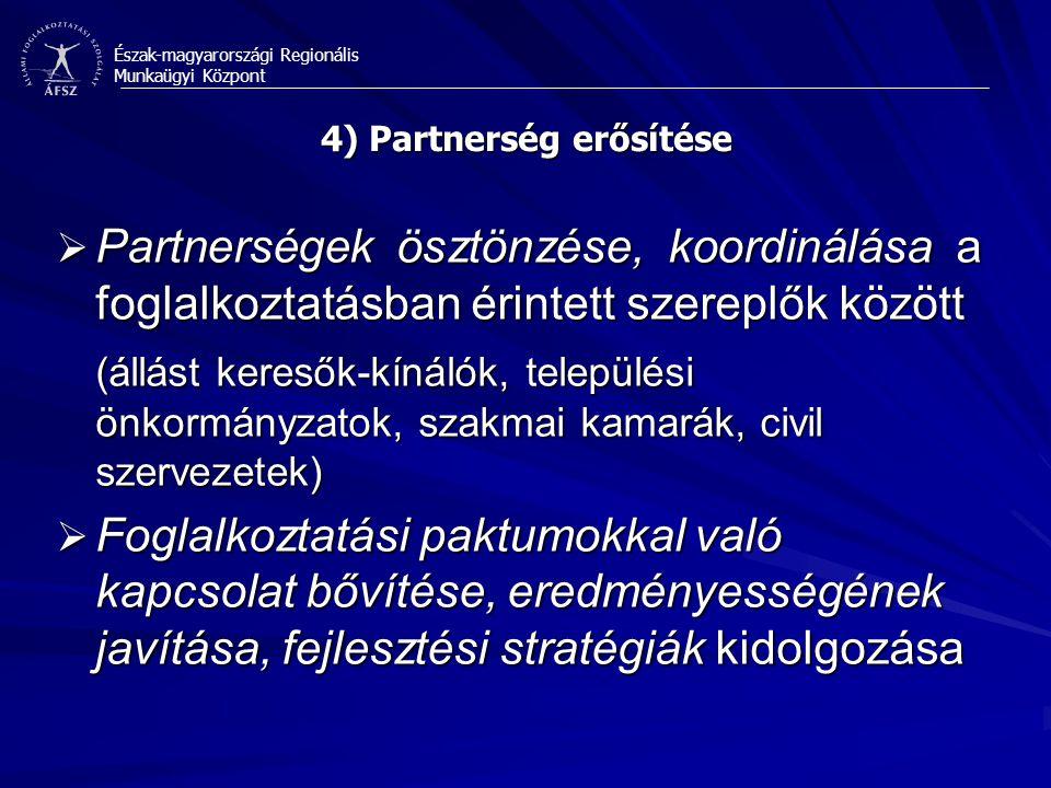 Észak-magyarországi Regionális Munkaügyi Központ 4) Partnerség erősítése  Partnerségek ösztönzése, koordinálása a foglalkoztatásban érintett szereplők között (állást keresők-kínálók, települési önkormányzatok, szakmai kamarák, civil szervezetek)  Foglalkoztatási paktumokkal való kapcsolat bővítése, eredményességének javítása, fejlesztési stratégiák kidolgozása