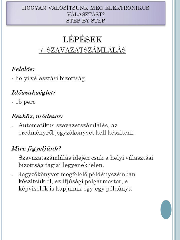 HOGYAN VALÓSÍTSUNK MEG ELEKTRONIKUS VÁLASZTÁST. STEP BY STEP LÉPÉSEK 7.