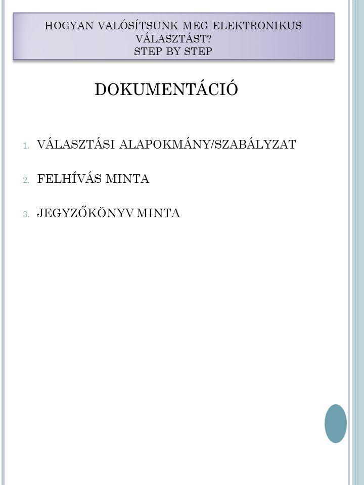 HOGYAN VALÓSÍTSUNK MEG ELEKTRONIKUS VÁLASZTÁST. STEP BY STEP DOKUMENTÁCIÓ 1.