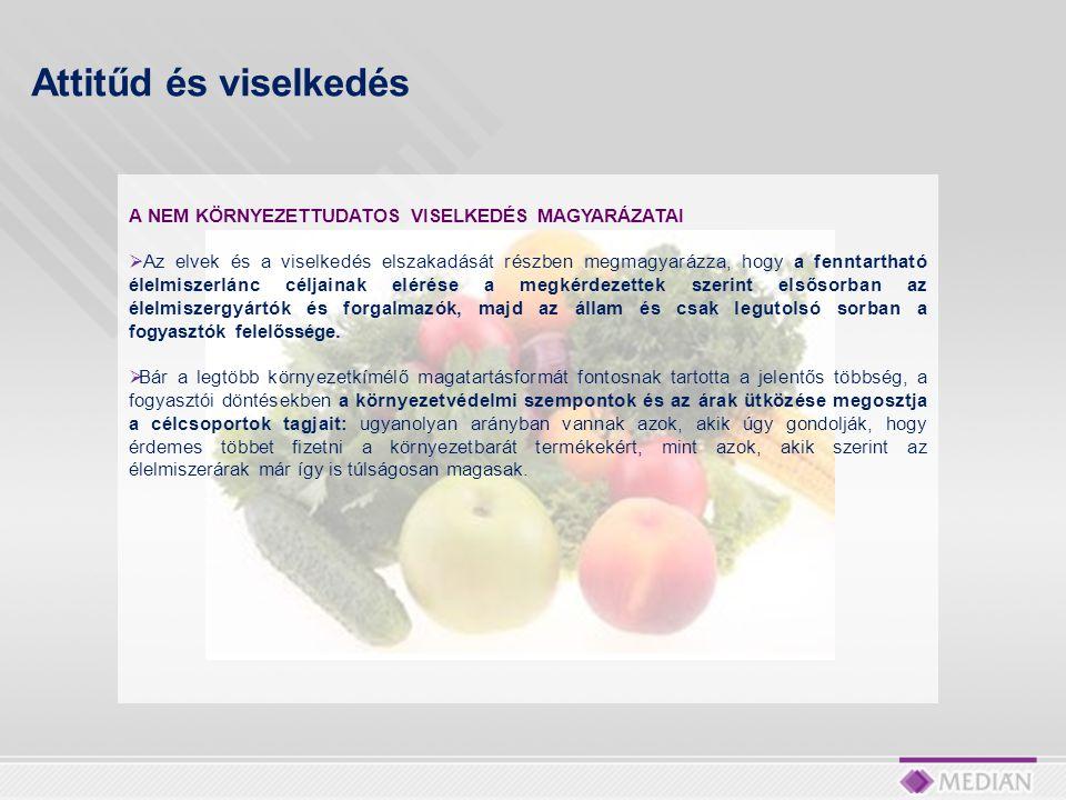 A NEM KÖRNYEZETTUDATOS VISELKEDÉS MAGYARÁZATAI  Az elvek és a viselkedés elszakadását részben megmagyarázza, hogy a fenntartható élelmiszerlánc céljainak elérése a megkérdezettek szerint elsősorban az élelmiszergyártók és forgalmazók, majd az állam és csak legutolsó sorban a fogyasztók felelőssége.