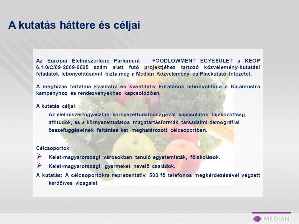 Az Európai Élelmiszerlánc Parlament – FOODLOWMENT EGYESÜLET a KEOP 6.1.0/C/09-2009-0005 szám alatt futó projektjéhez tartozó közvélemény-kutatási feladatok lebonyolításával bízta meg a Medián Közvélemény és Piackutató Intézetet.