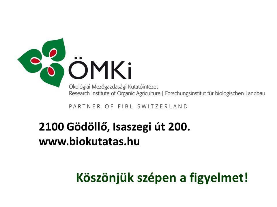 Köszönjük szépen a figyelmet! 2100 Gödöllő, Isaszegi út 200. www.biokutatas.hu
