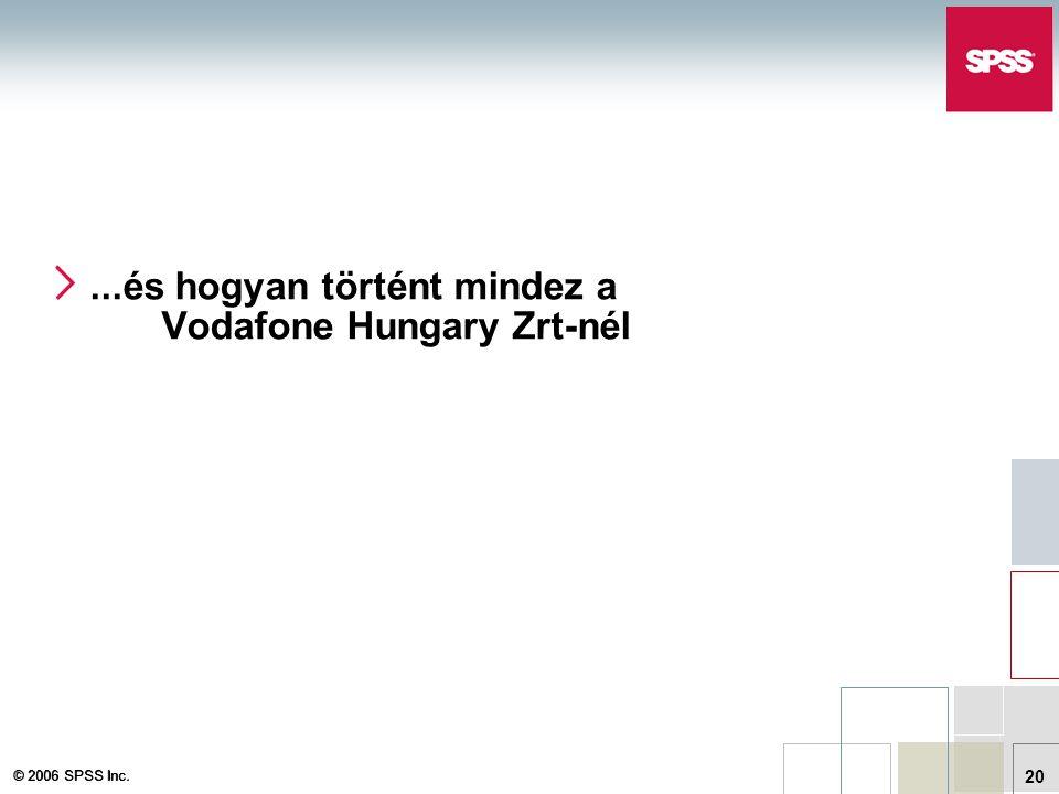 © 2006 SPSS Inc. 20...és hogyan történt mindez a Vodafone Hungary Zrt-nél