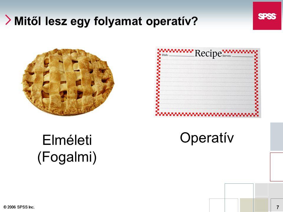 © 2006 SPSS Inc. 7 Mitől lesz egy folyamat operatív Elméleti (Fogalmi) Operatív