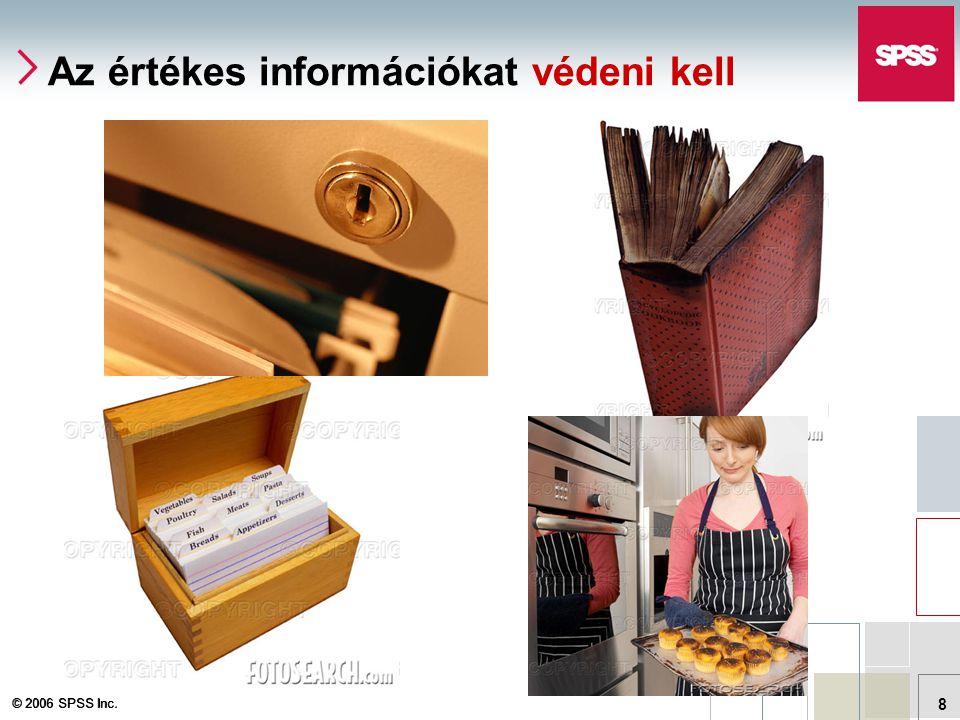 © 2006 SPSS Inc. 8 Az értékes információkat védeni kell