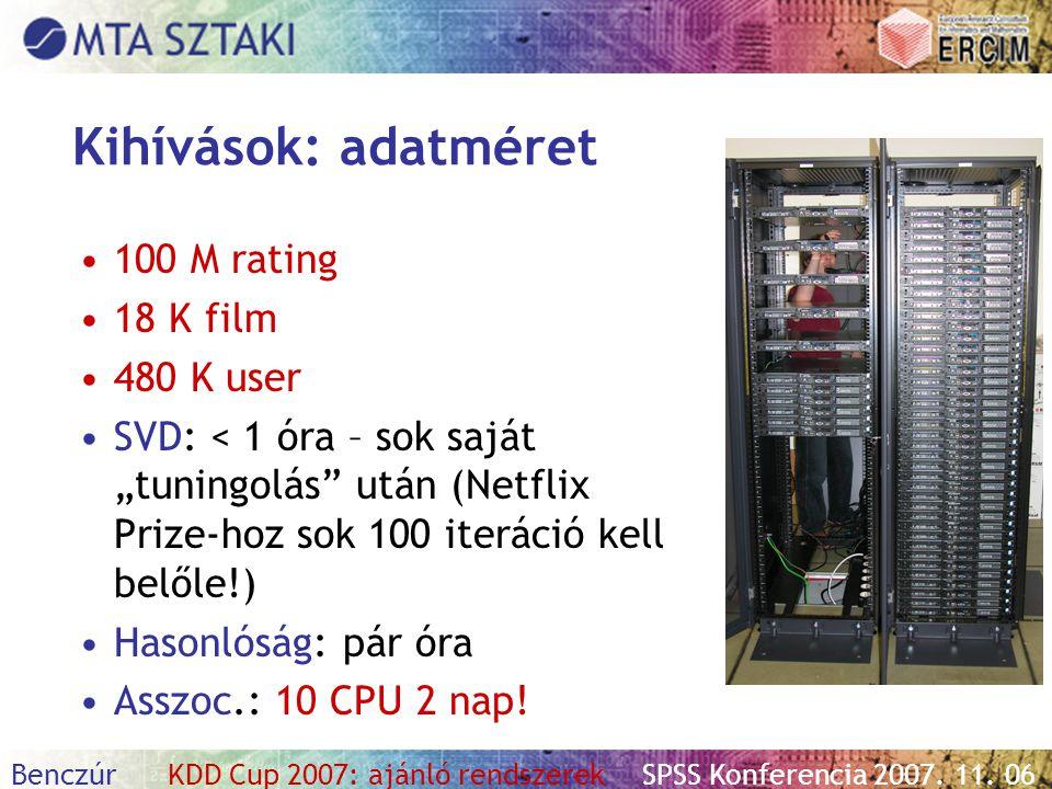 """Benczúr KDD Cup 2007: ajánló rendszerekSPSS Konferencia 2007. 11. 06 Kihívások: adatméret 100 M rating 18 K film 480 K user SVD: < 1 óra – sok saját """""""
