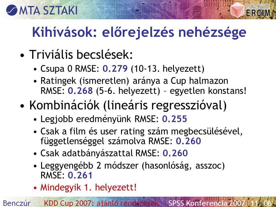 Benczúr KDD Cup 2007: ajánló rendszerekSPSS Konferencia 2007. 11. 06 Kihívások: előrejelzés nehézsége Triviális becslések: Csupa 0 RMSE: 0.279 (10-13.