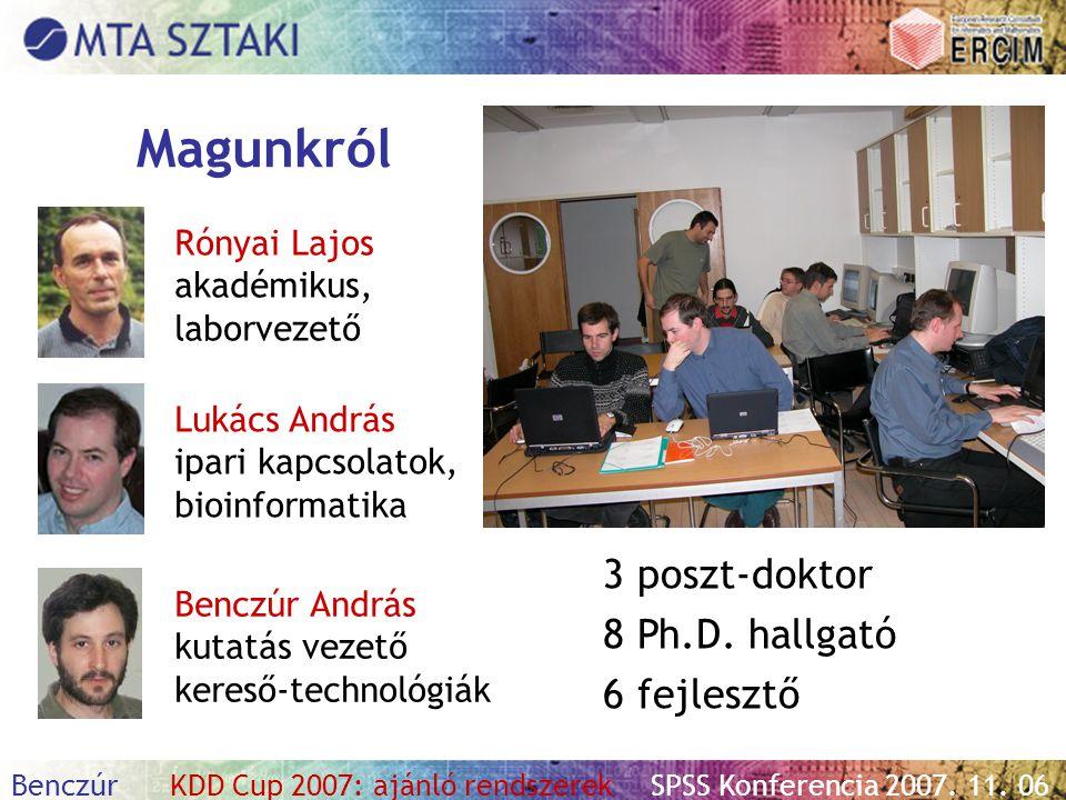 Benczúr KDD Cup 2007: ajánló rendszerekSPSS Konferencia 2007. 11. 06 Magunkról 3 poszt-doktor 8 Ph.D. hallgató 6 fejlesztő Rónyai Lajos akadémikus, la