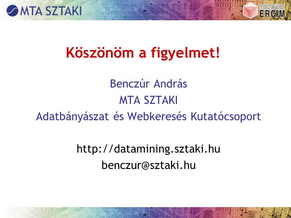 Köszönöm a figyelmet! Benczúr András MTA SZTAKI Adatbányászat és Webkeresés Kutatócsoport http://datamining.sztaki.hu benczur@sztaki.hu