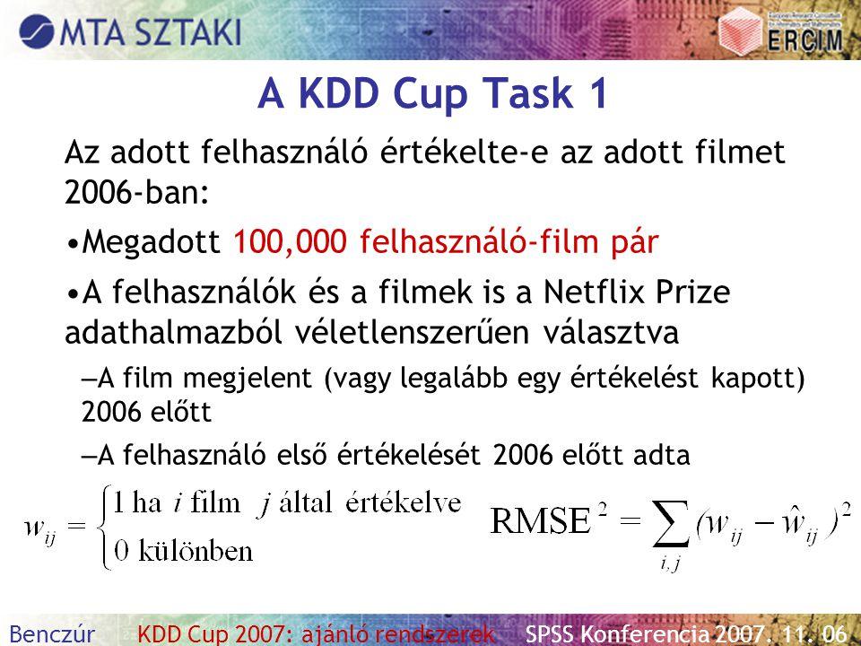 Benczúr KDD Cup 2007: ajánló rendszerekSPSS Konferencia 2007. 11. 06 A KDD Cup Task 1 Az adott felhasználó értékelte-e az adott filmet 2006-ban: Megad