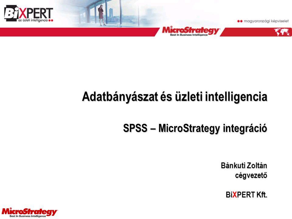 Adatbányászat és üzleti intelligencia SPSS – MicroStrategy integráció Bánkuti Zoltán cégvezető BiXPERT Kft.