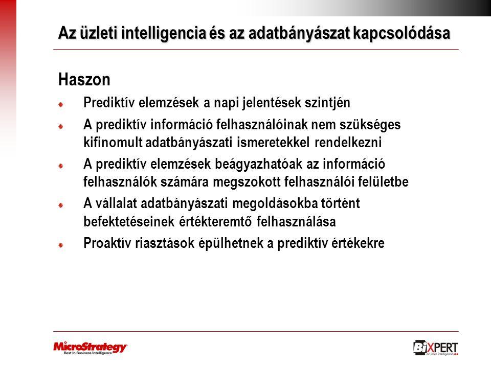 Az üzleti intelligencia és az adatbányászat kapcsolódása Haszon Prediktív elemzések a napi jelentések szintjén A prediktív információ felhasználóinak
