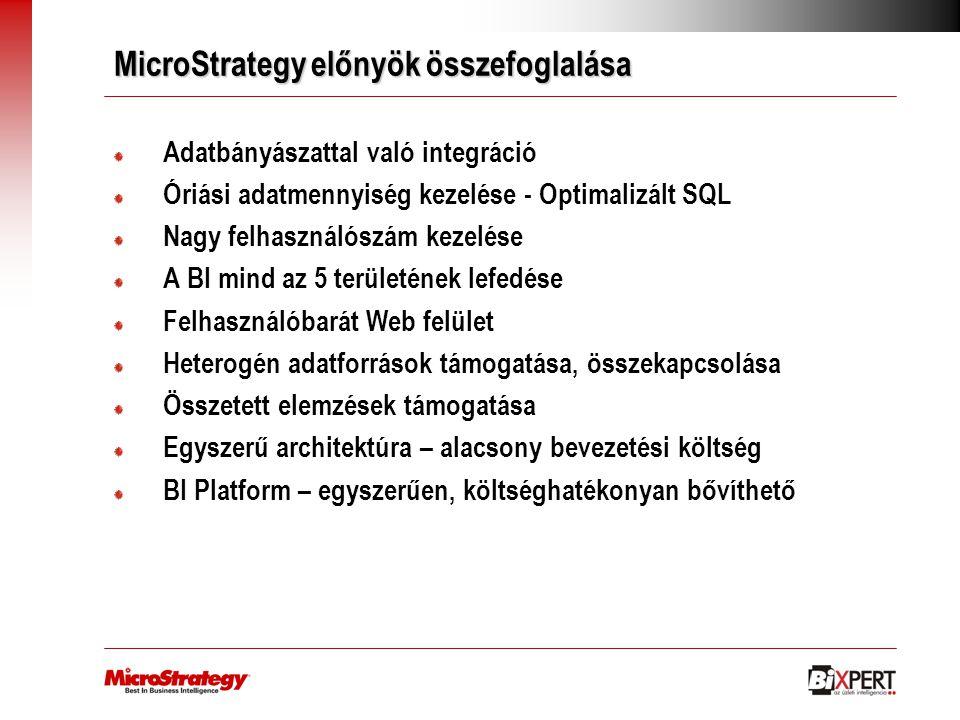 MicroStrategy előnyök összefoglalása Adatbányászattal való integráció Óriási adatmennyiség kezelése - Optimalizált SQL Nagy felhasználószám kezelése A