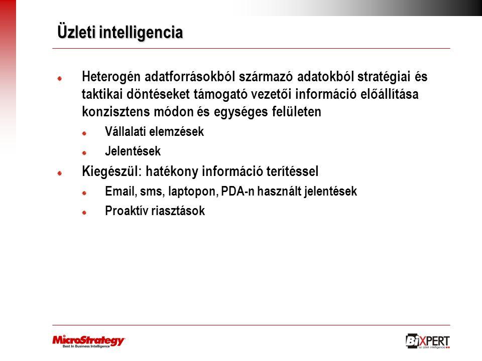 Üzleti intelligencia Heterogén adatforrásokból származó adatokból stratégiai és taktikai döntéseket támogató vezetői információ előállítása konziszten