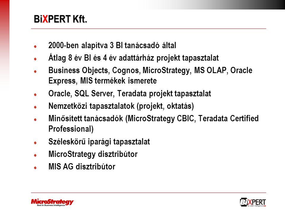 BiXPERT Kft. 2000-ben alapítva 3 BI tanácsadó által Átlag 8 év BI és 4 év adattárház projekt tapasztalat Business Objects, Cognos, MicroStrategy, MS O