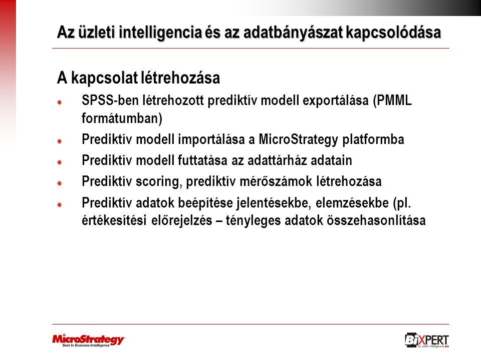 Az üzleti intelligencia és az adatbányászat kapcsolódása A kapcsolat létrehozása SPSS-ben létrehozott prediktív modell exportálása (PMML formátumban)