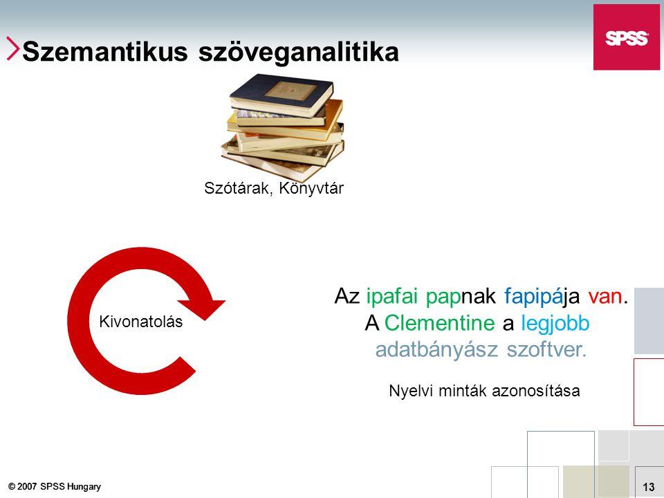 © 2007 SPSS Hungary 13 Szemantikus szöveganalitika Kivonatolás Szótárak, Könyvtár Nyelvi minták azonosítása Az ipafai papnak fapipája van. A Clementin