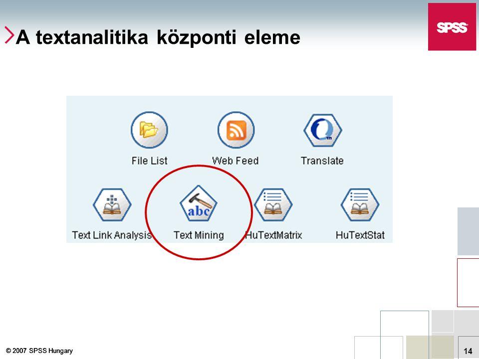© 2007 SPSS Hungary 14 A textanalitika központi eleme