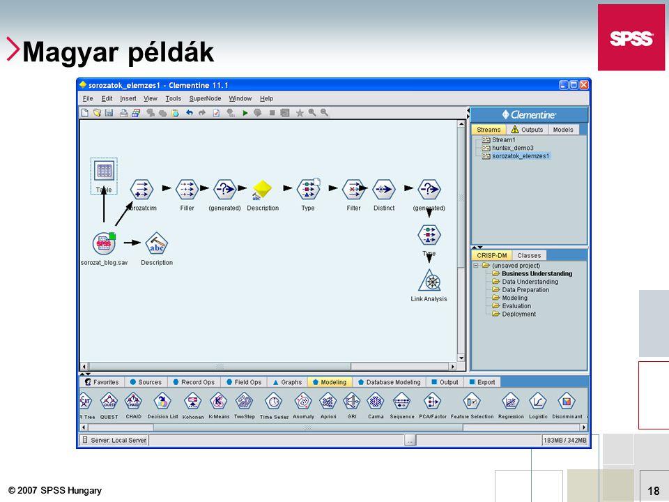 © 2007 SPSS Hungary 18 Magyar példák