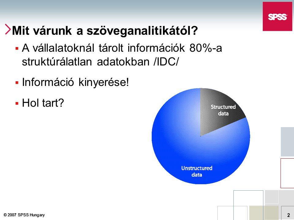 © 2007 SPSS Hungary 13 Szemantikus szöveganalitika Kivonatolás Szótárak, Könyvtár Nyelvi minták azonosítása Az ipafai papnak fapipája van.