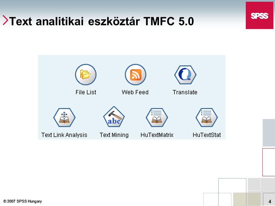 © 2007 SPSS Hungary 4 Text analitikai eszköztár TMFC 5.0