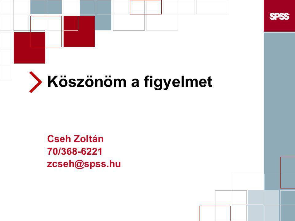 Köszönöm a figyelmet Cseh Zoltán 70/368-6221 zcseh@spss.hu