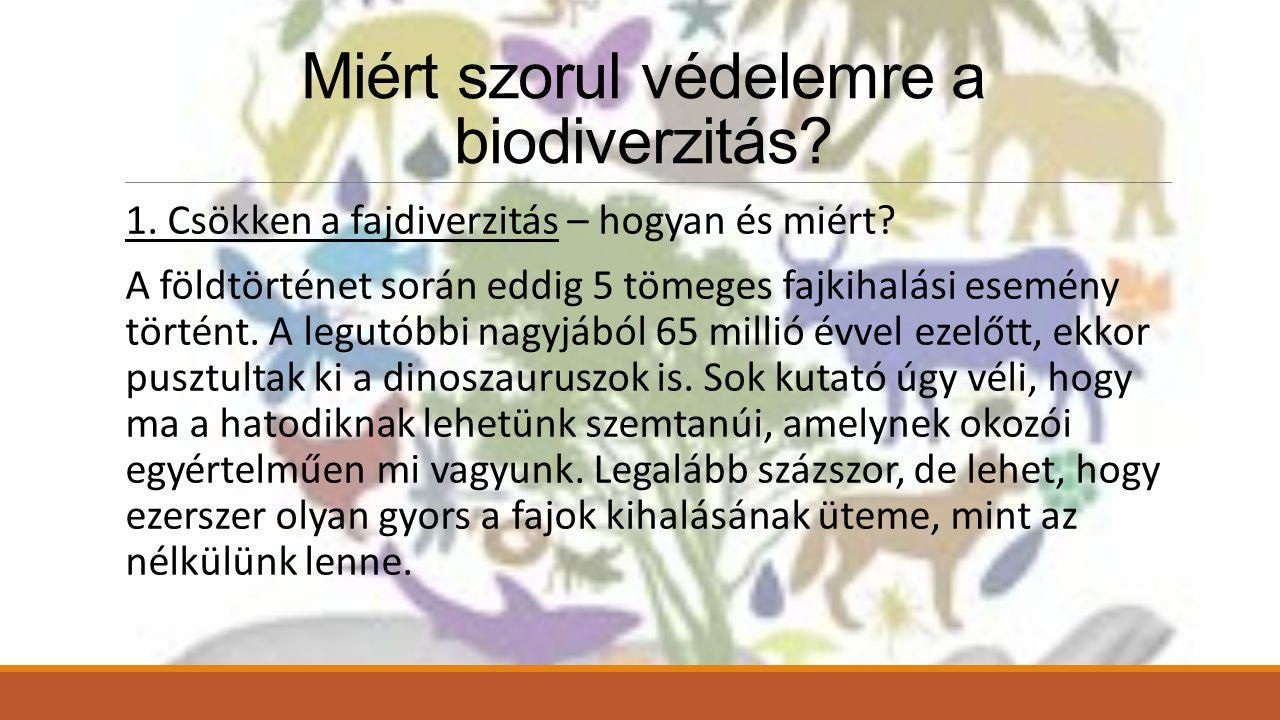 Miért szorul védelemre a biodiverzitás.1. Csökken a fajdiverzitás – hogyan és miért.