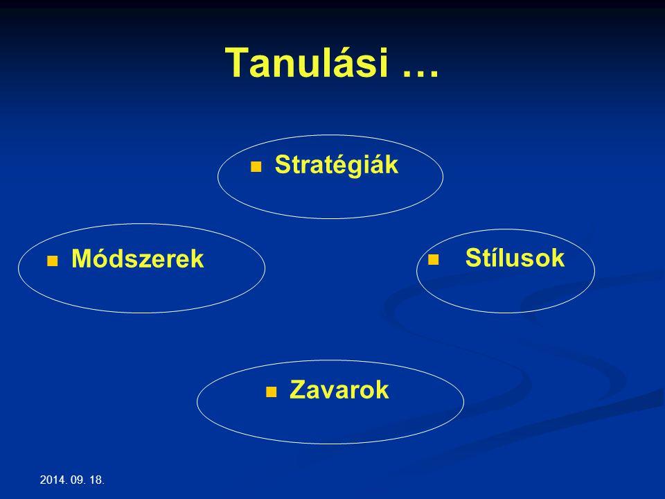 2014. 09. 18. Tanulási … Stratégiák Stílusok Módszerek Zavarok