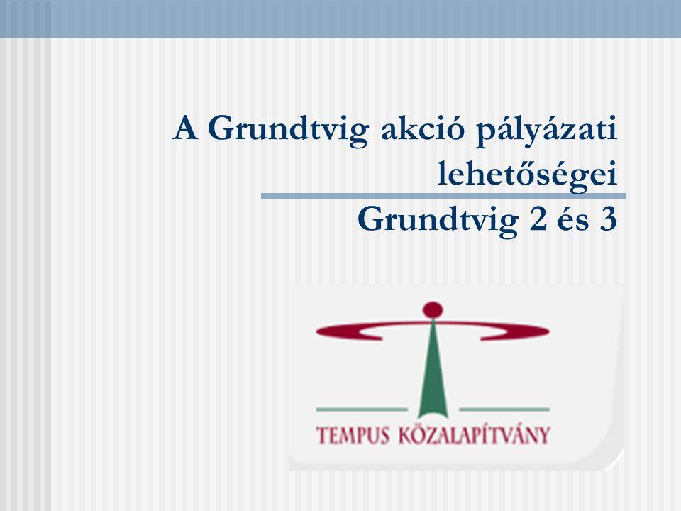 Grundtvig 2 előkészítő látogatások Nemzetközi kapcsolatok megalapozása Egyéni látogatás potenciális partnerintézményhez Tematikus partnerkereső szeminárium Európában 1 személy/intézmény Maximum 1000 euró támogatás