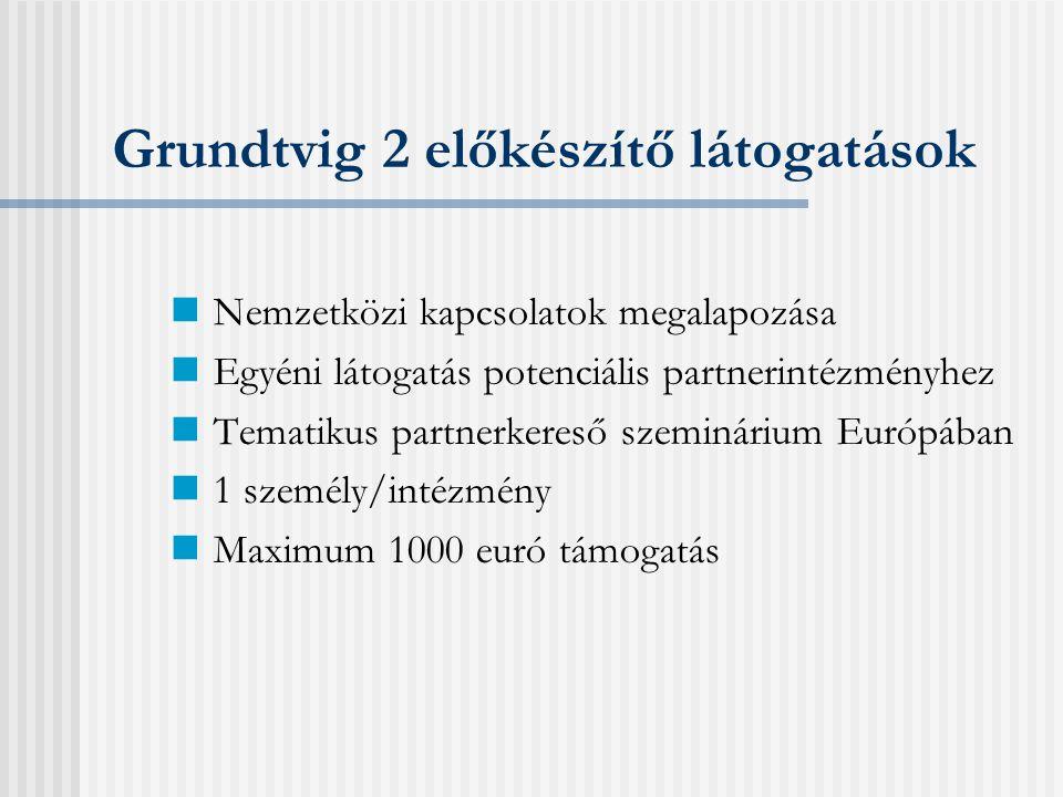 Grundtvig 2 - Tanulási kapcsolatok Pénzügyek Átlag 8.000 euró támogatás/ partner/ év Alaptámogatás/ mobilitási támogatás Viszonylag egyszerű pénzügyi szabályok Önrész nem szükséges