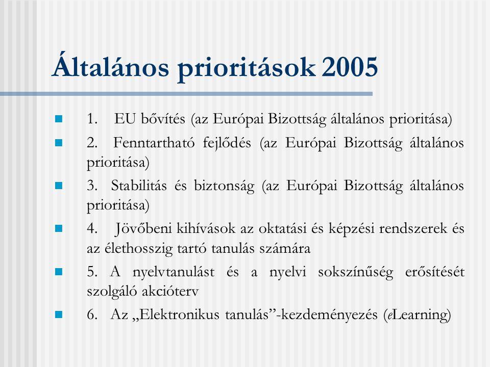 Általános prioritások 2005 1.EU bővítés (az Európai Bizottság általános prioritása) 2.