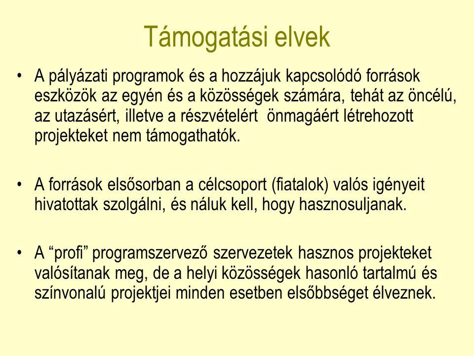 Eszközök az Ifjúság 2000-2006 Program alprogramjai, EUROMED, harmadik országok, határ menti együttműködés, továbbképzések, tréningek, tanulmányutak, szemináriumok.