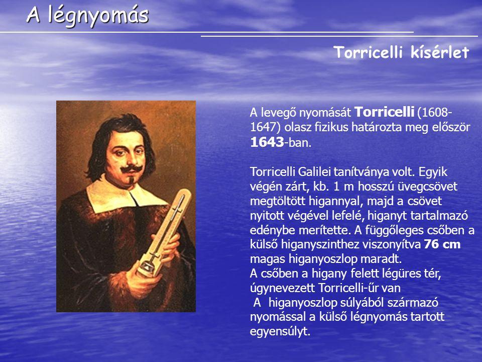 A légnyomás A levegő nyomását Torricelli (1608- 1647) olasz fizikus határozta meg először 1643 -ban.
