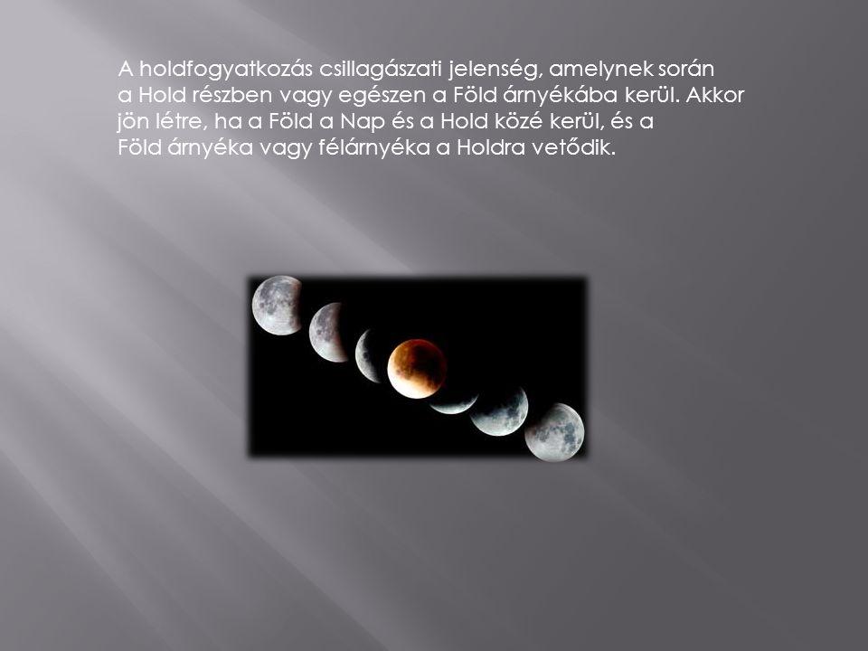 A holdfogyatkozás csillagászati jelenség, amelynek során a Hold részben vagy egészen a Föld árnyékába kerül.