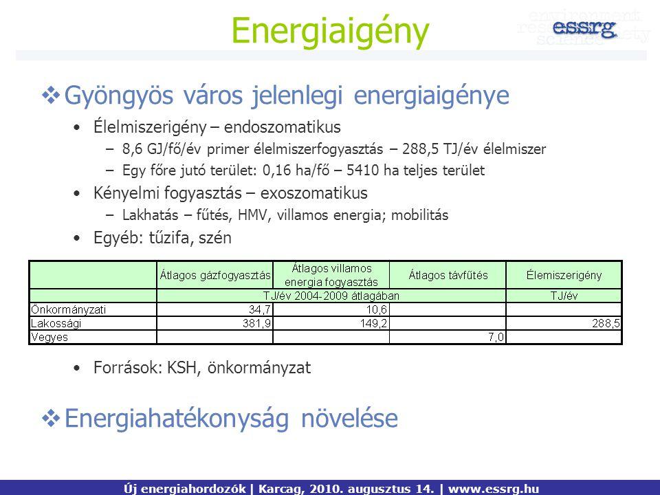 Energiaigény  Gyöngyös város jelenlegi energiaigénye Élelmiszerigény – endoszomatikus –8,6 GJ/fő/év primer élelmiszerfogyasztás – 288,5 TJ/év élelmis