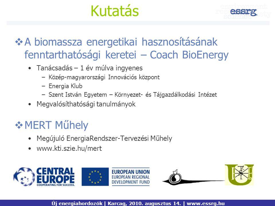 Kutatás  A biomassza energetikai hasznosításának fenntarthatósági keretei – Coach BioEnergy Tanácsadás – 1 év múlva ingyenes –Közép-magyarországi Inn