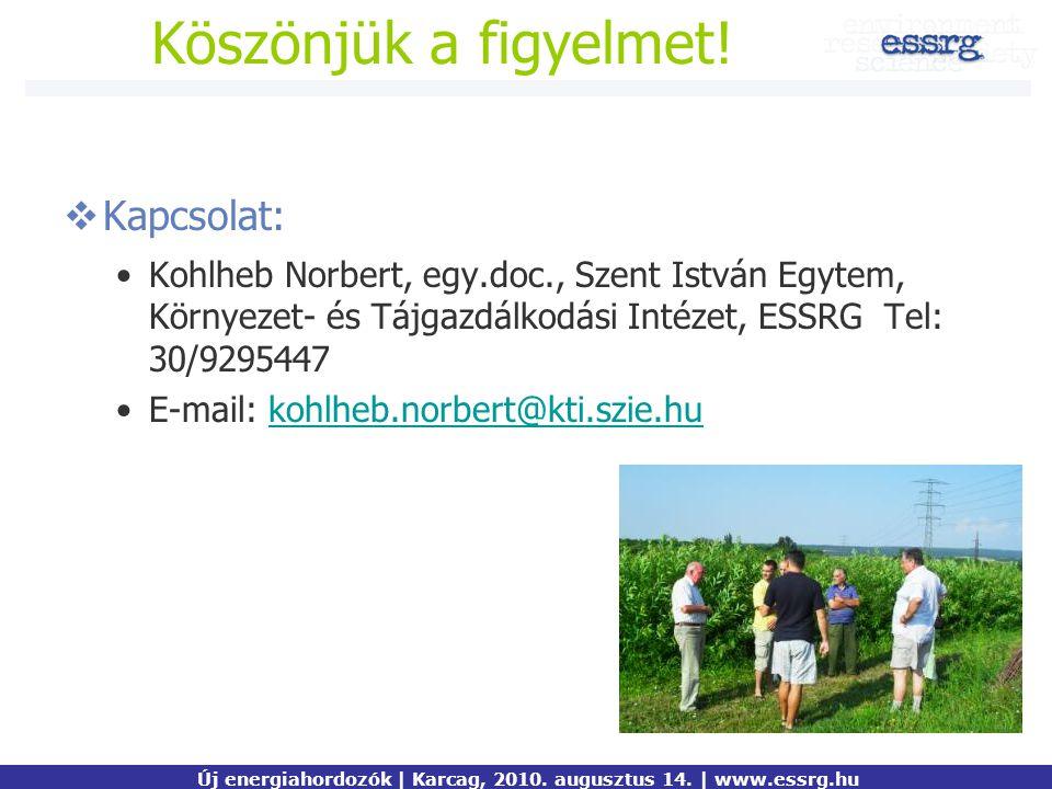 Kiemelt mondanivaló  Kapcsolat: Kohlheb Norbert, egy.doc., Szent István Egytem, Környezet- és Tájgazdálkodási Intézet, ESSRG Tel: 30/9295447 E-mail: