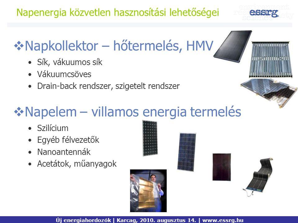 Napenergia közvetlen hasznosítási lehetőségei Kiemelt mondanivaló Új energiahordozók | Karcag, 2010. augusztus 14. | www.essrg.hu  Napkollektor – hőt