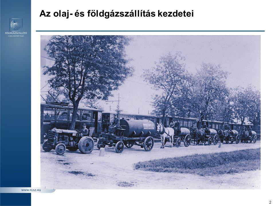 3 1914: Kissármáson, Erdélyben felfedezik az első európai földgázmezőt 1937: Az első magyarországi kőolaj- és földgázmező felfedezése Budafapusztán, Zala megyében 1938: Megépül az első magyarországi gázvezeték Budafa és Újudvar között 1949: Megépül a Bázakerettye - Budapest közötti olaj-/gáztávvezeték 1949: Megalakul az Ásványolaj- és Földgáz Távvezeték Nemzeti Vállalat Siófok központtal 1954: Megalakul a Kőolajvezeték Vállalat 1958: Létrejön az első (román-magyar) interkonnektor (Csenger – Tiszapalkonya) 1968: Diszpécserközpont nyílik a vállalat székhelyén, Siófokon 1974: Kettéválik a Kőolajvezeték Vállalat: létrejön a Gáz- és Olajszállító Vállalat (GOV) és a Kőolajvezetéképítő Vállalat (KVV) 1975: Csatlakozás a szovjet földgázszállító-rendszerhez 1991:Megalakul a MOL Rt., megszűnik a GOV.