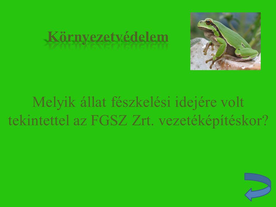 Melyik állat fészkelési idejére volt tekintettel az FGSZ Zrt. vezetéképítéskor?