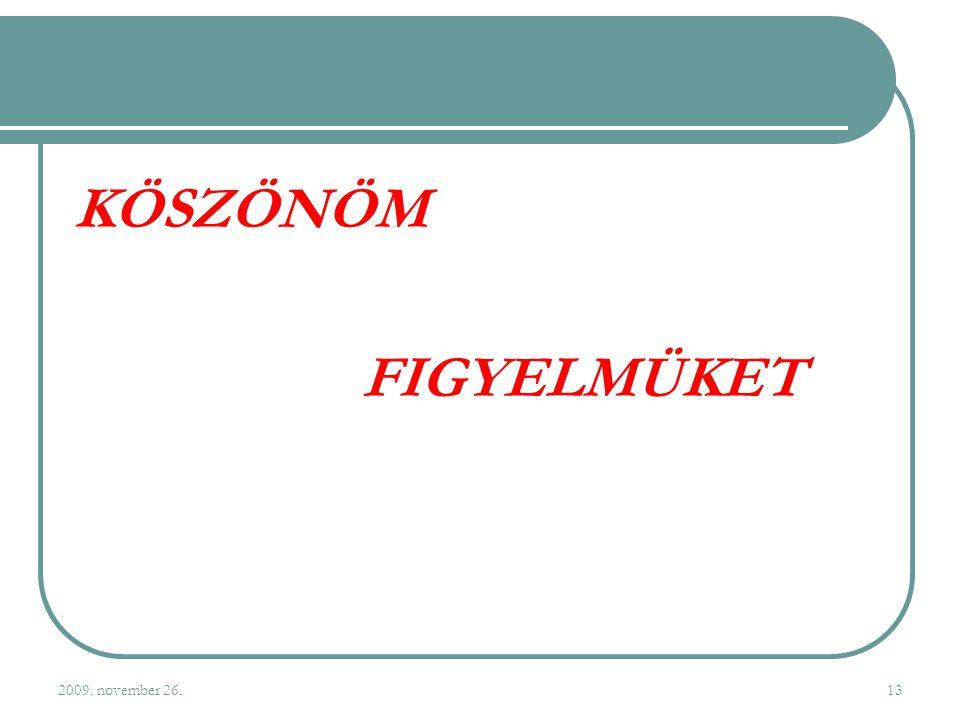 2009. november 26.13 KÖSZÖNÖM FIGYELMÜKET