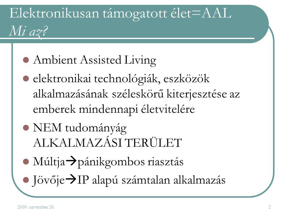2009. november 26.2 Elektronikusan támogatott élet=AAL Mi az.