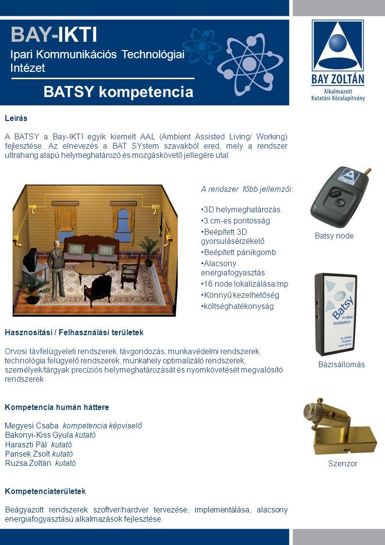 BAY-IKTI Ipari Kommunikációs Technológiai Intézet BATSY kompetencia Leírás A BATSY a Bay-IKTI egyik kiemelt AAL (Ambient Assisted Living/ Working) fej