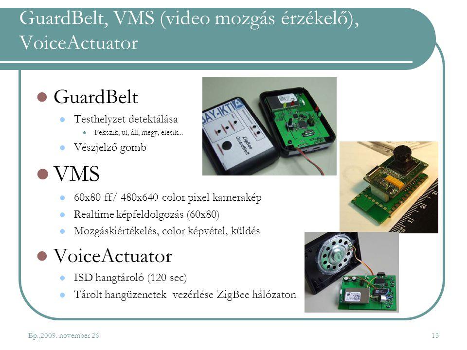 GuardBelt, VMS (video mozgás érzékelő), VoiceActuator GuardBelt Testhelyzet detektálása Fekszik, ül, áll, megy, elesik... Vészjelző gomb VMS 60x80 ff/