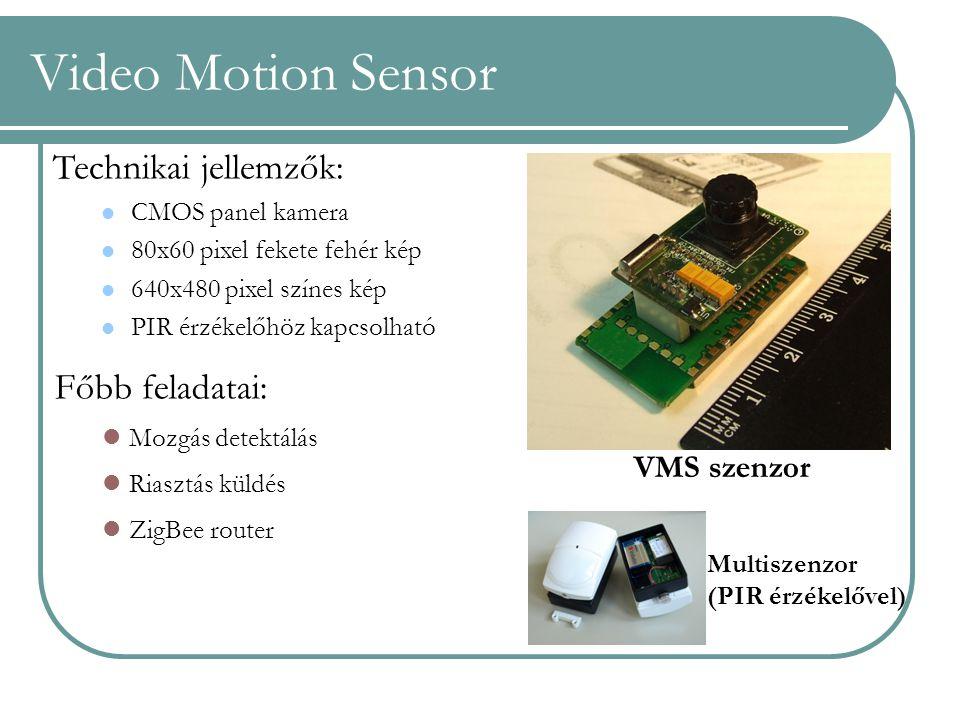 Video Motion Sensor Technikai jellemzők: CMOS panel kamera 80x60 pixel fekete fehér kép 640x480 pixel színes kép PIR érzékelőhöz kapcsolható Főbb fela