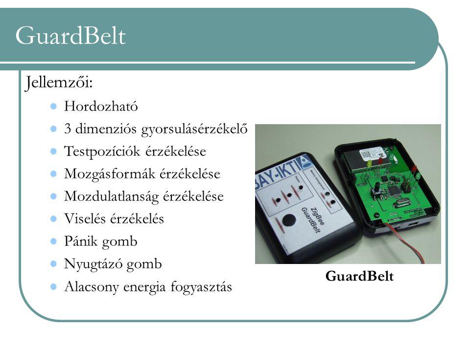 GuardBelt Jellemzői: Hordozható 3 dimenziós gyorsulásérzékelő Testpozíciók érzékelése Mozgásformák érzékelése Mozdulatlanság érzékelése Viselés érzéke