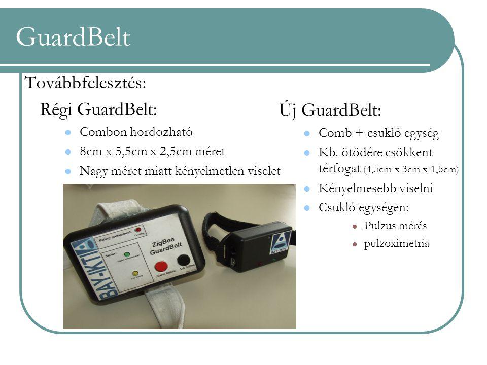 Továbbfelesztés: Régi GuardBelt: Combon hordozható 8cm x 5,5cm x 2,5cm méret Nagy méret miatt kényelmetlen viselet Új GuardBelt: Comb + csukló egység