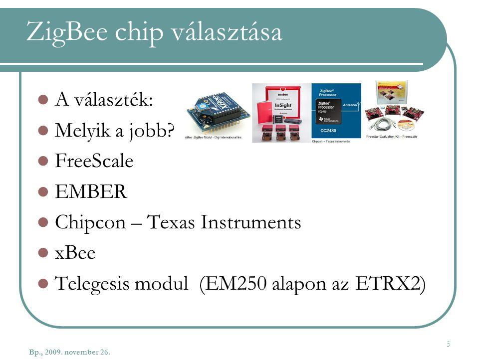 ZigBee chip választása A választék: Melyik a jobb? FreeScale EMBER Chipcon – Texas Instruments xBee Telegesis modul (EM250 alapon az ETRX2) Bp., 2009.