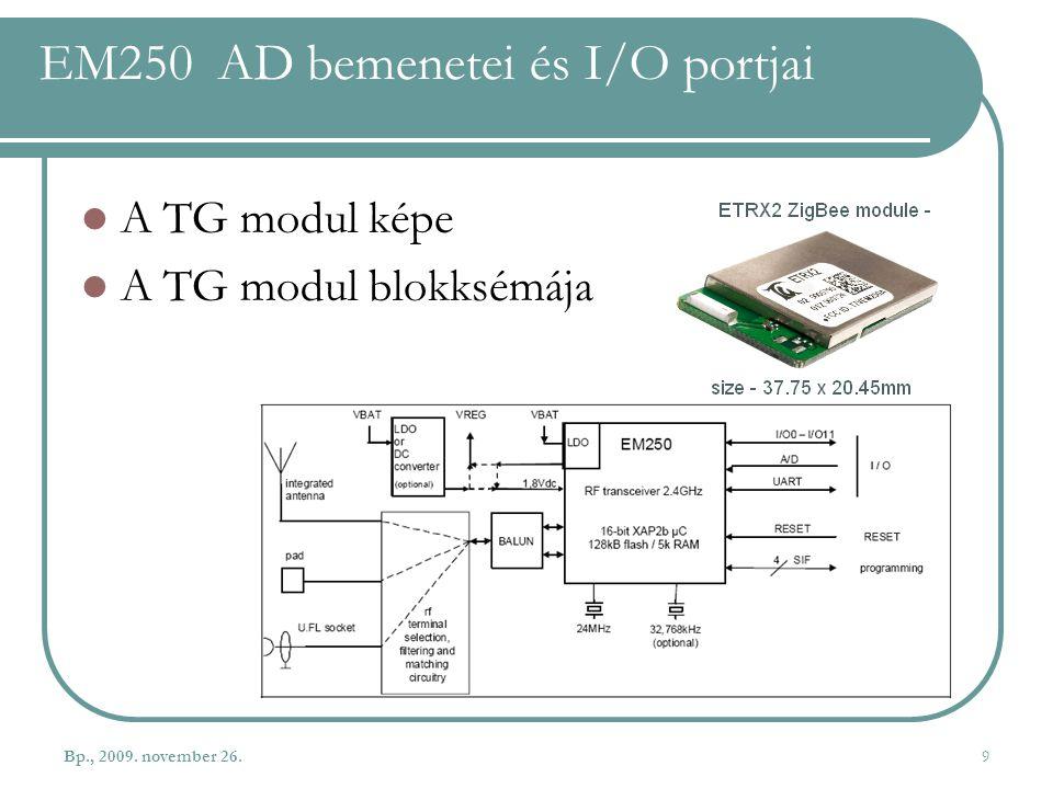 EM250 AD bemenetei és I/O portjai A TG modul képe A TG modul blokksémája Bp., 2009. november 26.9